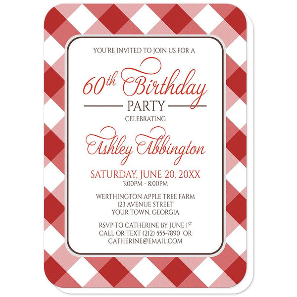 Red Gingham Birthday Party Invitations (rounded corners) at Artistically Invited