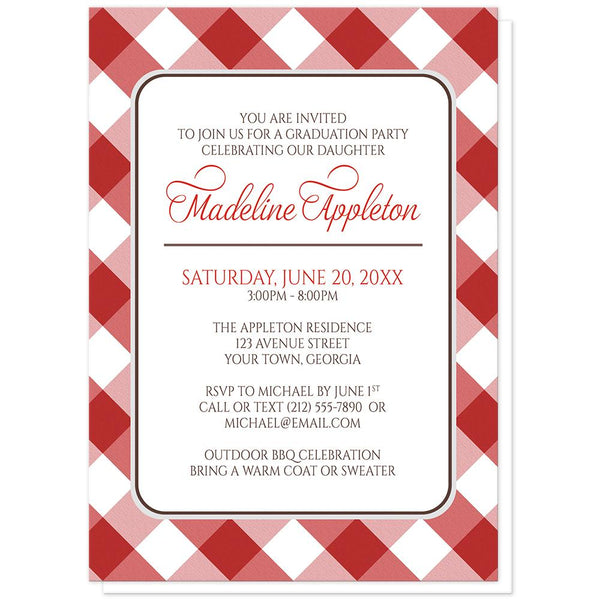 Red Gingham Graduation Invitations at Artistically Invited