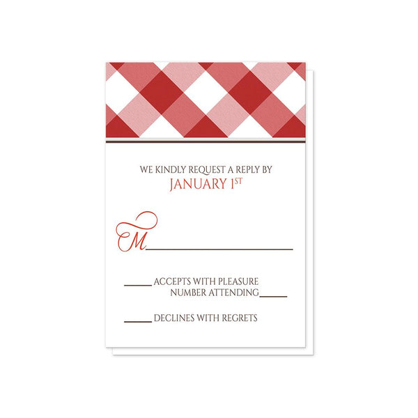 Red Gingham Vow Renewal RSVP Cards at Artistically Invited