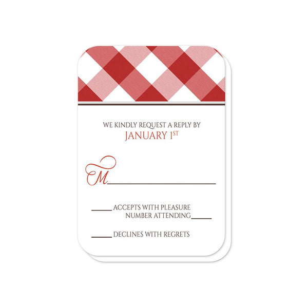 Red Gingham Vow Renewal RSVP Cards (rounded corners) at Artistically Invited