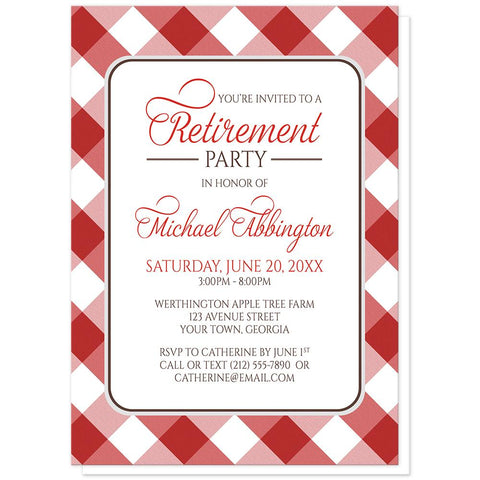 Red Gingham Retirement Invitations at Artistically Invited