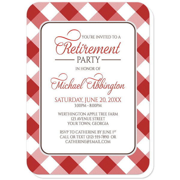 Red Gingham Retirement Invitations (rounded corners) at Artistically Invited