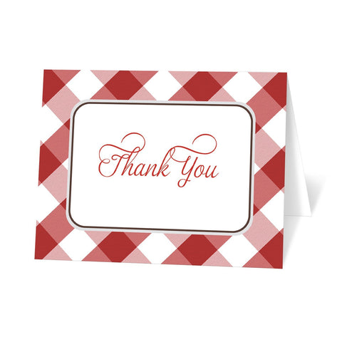 Red Gingham Thank You Cards at Artistically Invited in a red and white gingham pattern