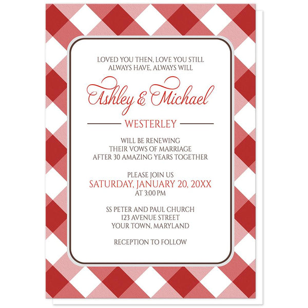 Red Gingham Vow Renewal Invitations at Artistically Invited