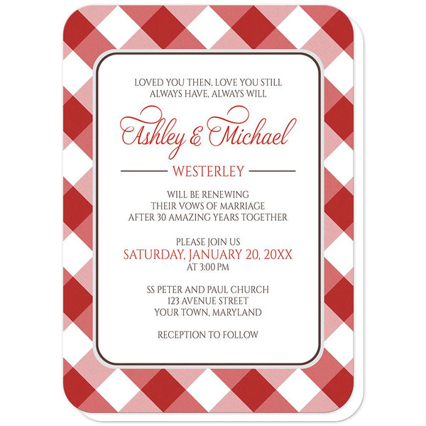 Red Gingham Vow Renewal Invitations (rounded corners) at Artistically Invited