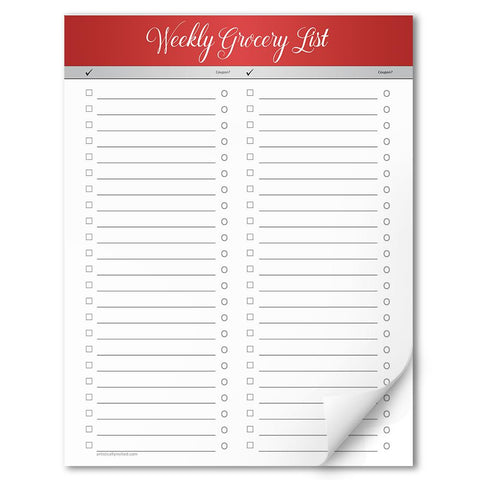 Red Header Full Page Weekly Grocery List Notepad - 8.5 x 11, at Artistically Invited