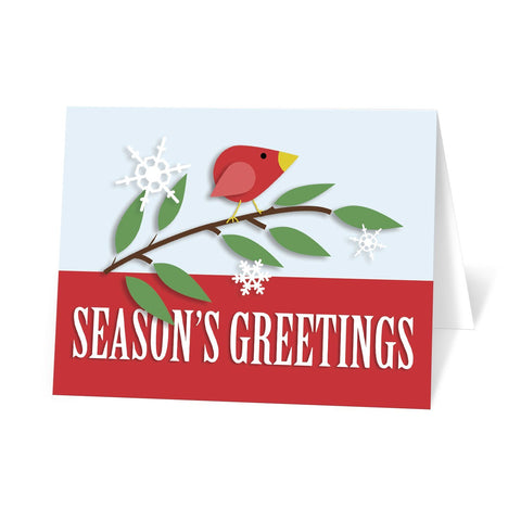 Red Holiday Bird Season's Greetings Christmas Cards at Artistically Invited