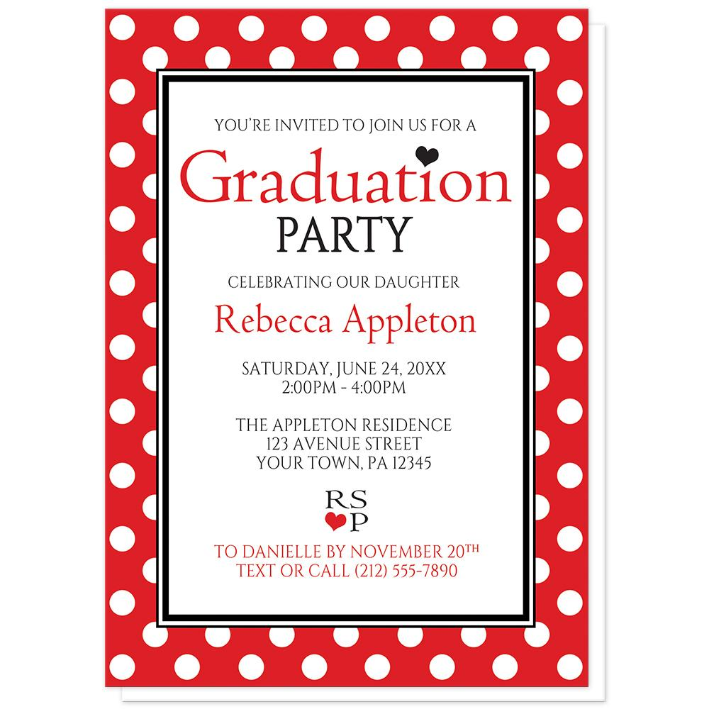 Red Polka Dot Black and White - Polka Dot Graduation Invitations at Artistically Invited
