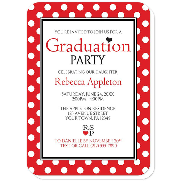 Red Polka Dot Black and White - Polka Dot Graduation Invitations (rounded corners) at Artistically Invited