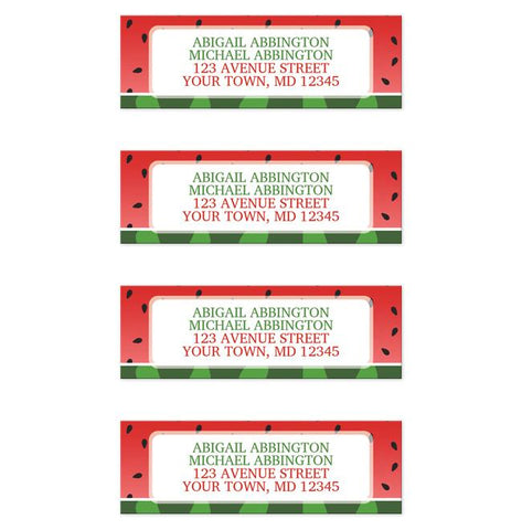 Red and Green Watermelon Return Address Labels at Artistically Invited