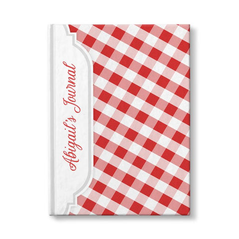 "Red and White Gingham Pattern Personalized 5"" x 7"" Journal"