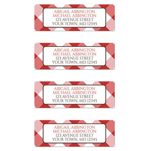 Red and White Gingham Return Address Labels at Artistically Invited