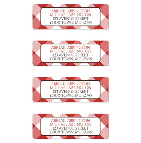 Red Gingham Return Address Labels at Artistically Invited