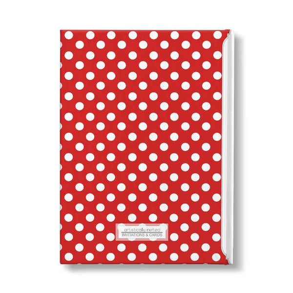 "Red and White Polka Dot Personalized 5"" x 7"" Journal - back"