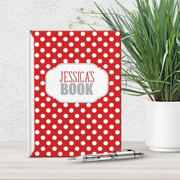 "Red and White Polka Dot Personalized 5"" x 7"" Journal"