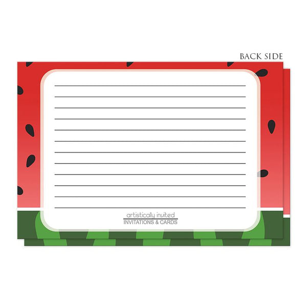 Red and Green Watermelon Recipe Cards (back side) at Artistically Invited