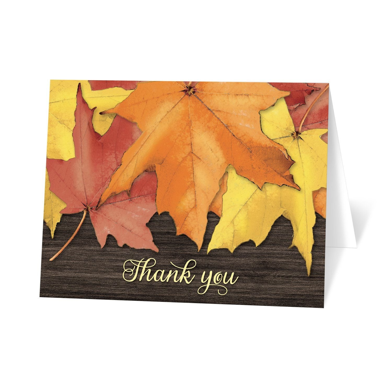 Rustic Autumn Leaves Wood Thank You Cards at Artistically Invited