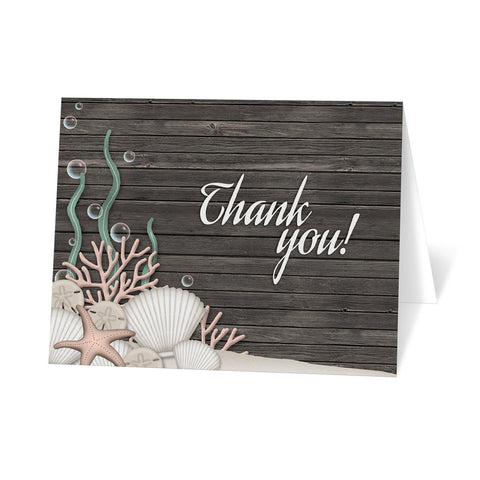 Rustic Beach Seashells and Wood Thank You Cards at Artistically Invited