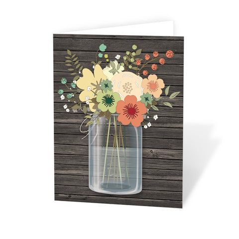 Rustic Floral Wood Mason Jar Note Cards at Artistically Invited
