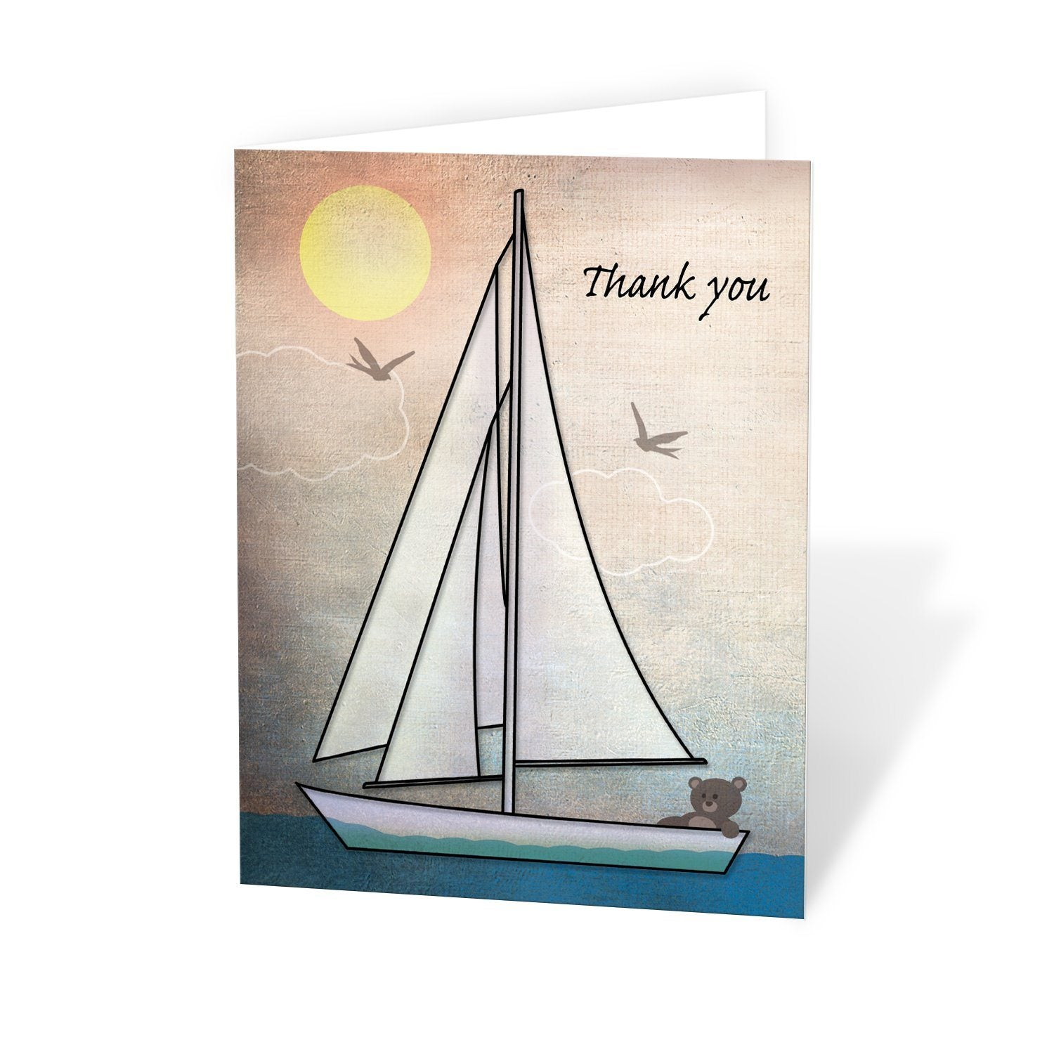 Rustic Nautical Teddy Bear Sailboat Thank You Cards at Artistically Invited