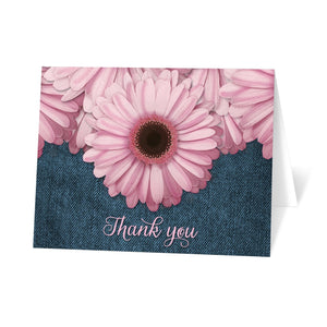 Rustic Pink Daisy Denim Thank You Cards at Artistically Invited