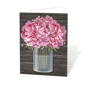 Rustic Pink Peony Wood Mason Jar Note Cards at Artistically Invited