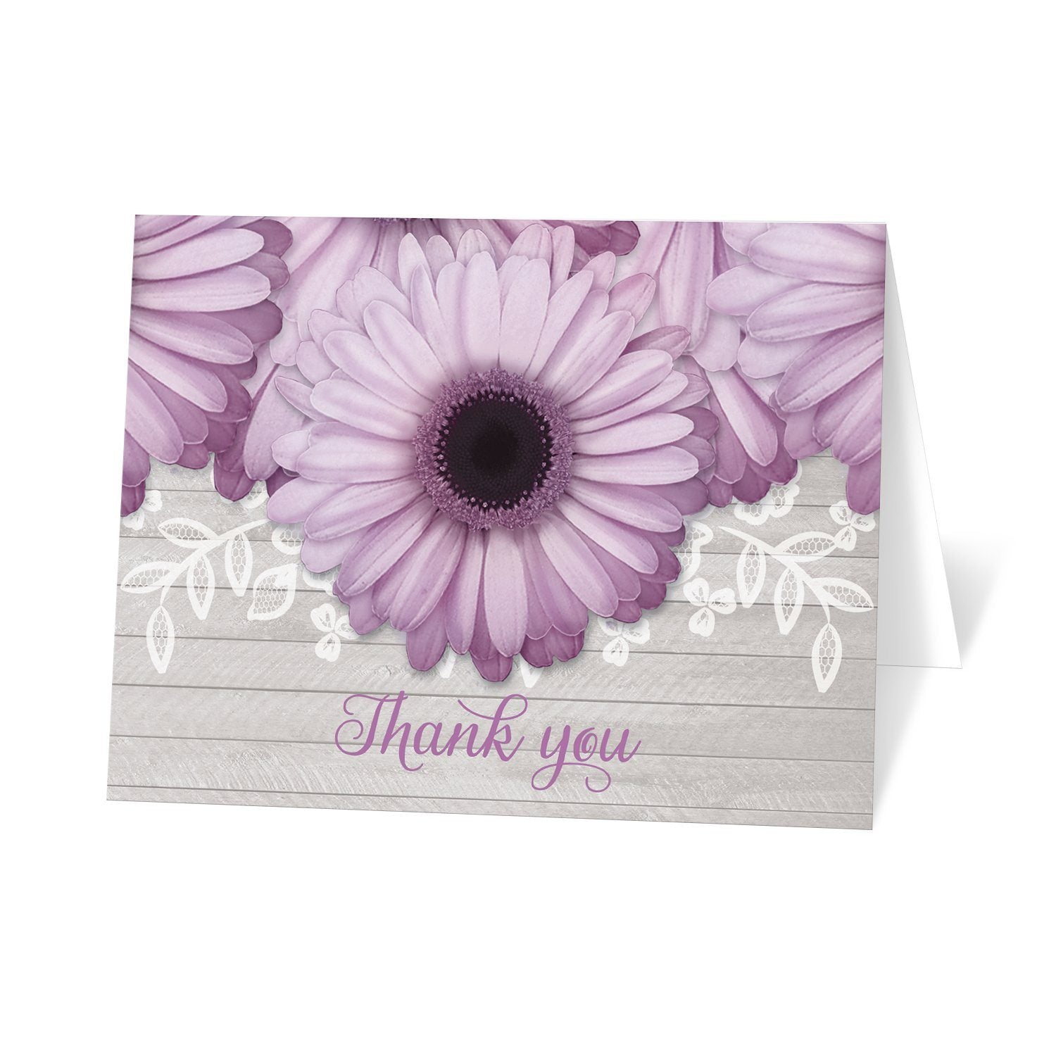 Rustic Purple Daisy Gray Wood Thank You Cards at Artistically Invited