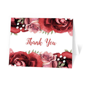 Rustic Red Pink Rose Green White Thank You Cards at Artistically Invited
