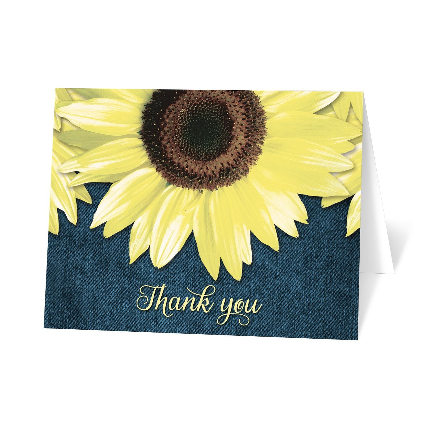 Rustic Sunflower and Denim Thank You Cards at Artistically Invited