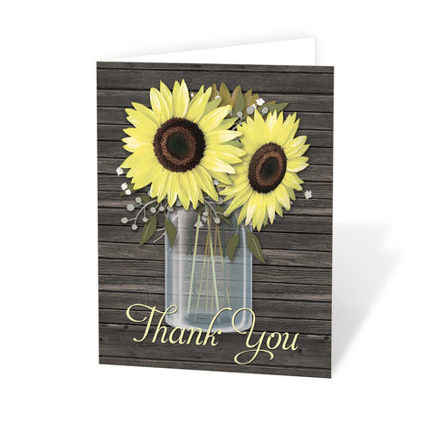 Rustic Sunflower Wood Mason Jar - Sunflower Thank You Cards at Artistically Invited