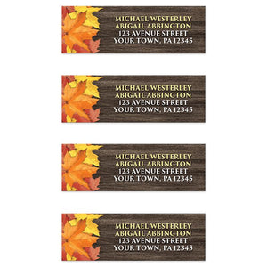 Rustic Autumn Leaves Wood Address Labels at Artistically Invited