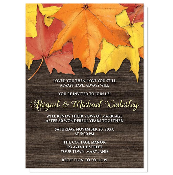 Rustic Autumn Leaves Wood Vow Renewal Invitations at Artistically Invited