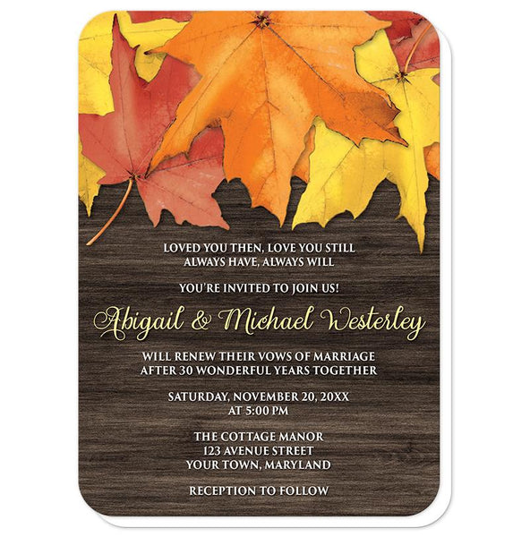 Rustic Autumn Leaves Wood Vow Renewal Invitations (rounded corners) at Artistically Invited