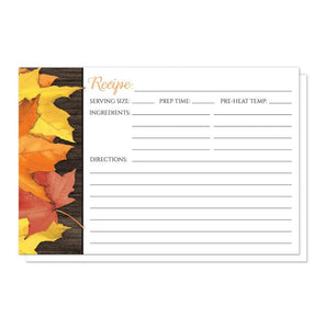Rustic Autumn Leaves Wood White Recipe Cards