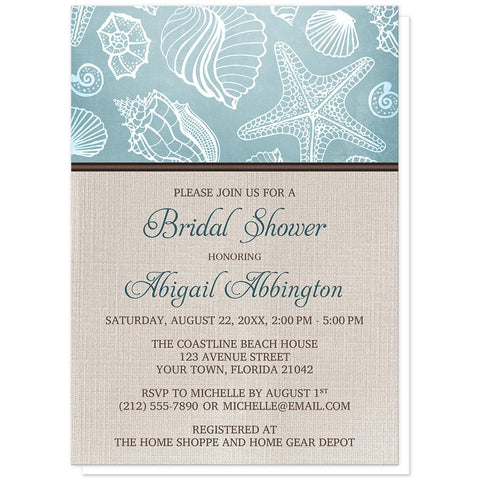 Seashell Bridal Shower Invitations - Rustic Beach Linen Seashell Bridal Shower Invitations at Artistically Invited