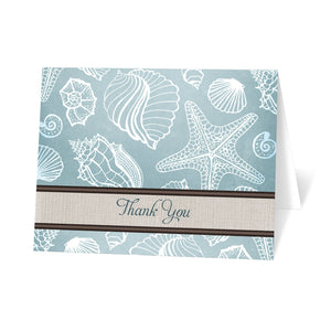 Rustic Beach Seashells Linen Thank You Cards at Artistically Invited