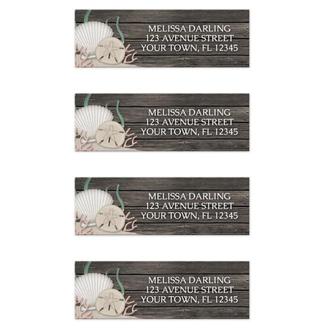 Rustic Beach Seashells and Wood Address Labels