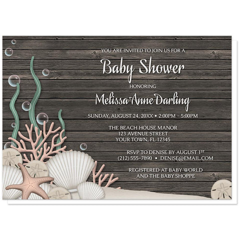 Rustic Beach Seashells and Wood Baby Shower Invitations at Artistically Invited