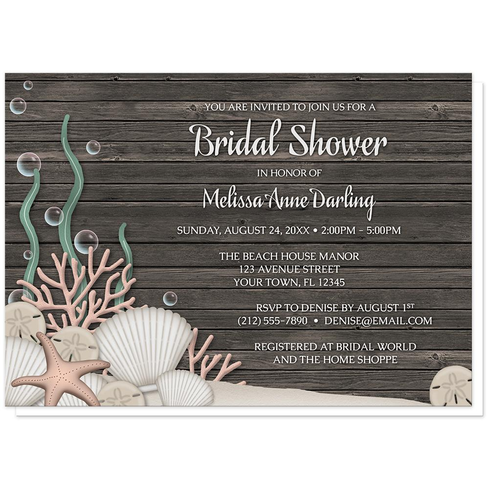 Rustic Beach Seashells and Wood Bridal Shower Invitations at Artistically Invited