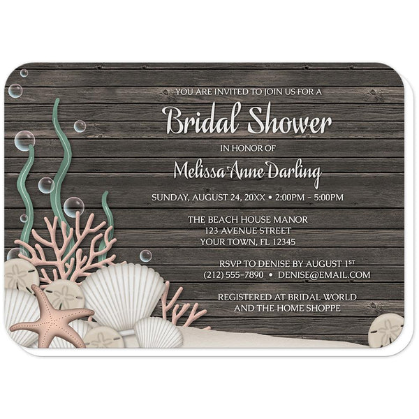 Rustic Beach Seashells and Wood Bridal Shower Invitations (rounded corners) at Artistically Invited