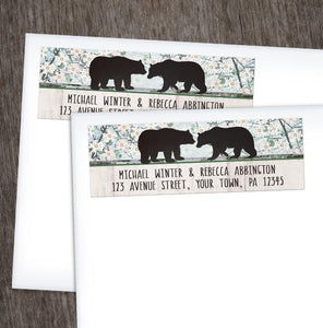 Rustic Bear Floral Wood Address Labels EXAMPLE