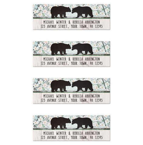 Bear Address Labels - Rustic Bear Floral Wood Address Labels at Artistically Invited
