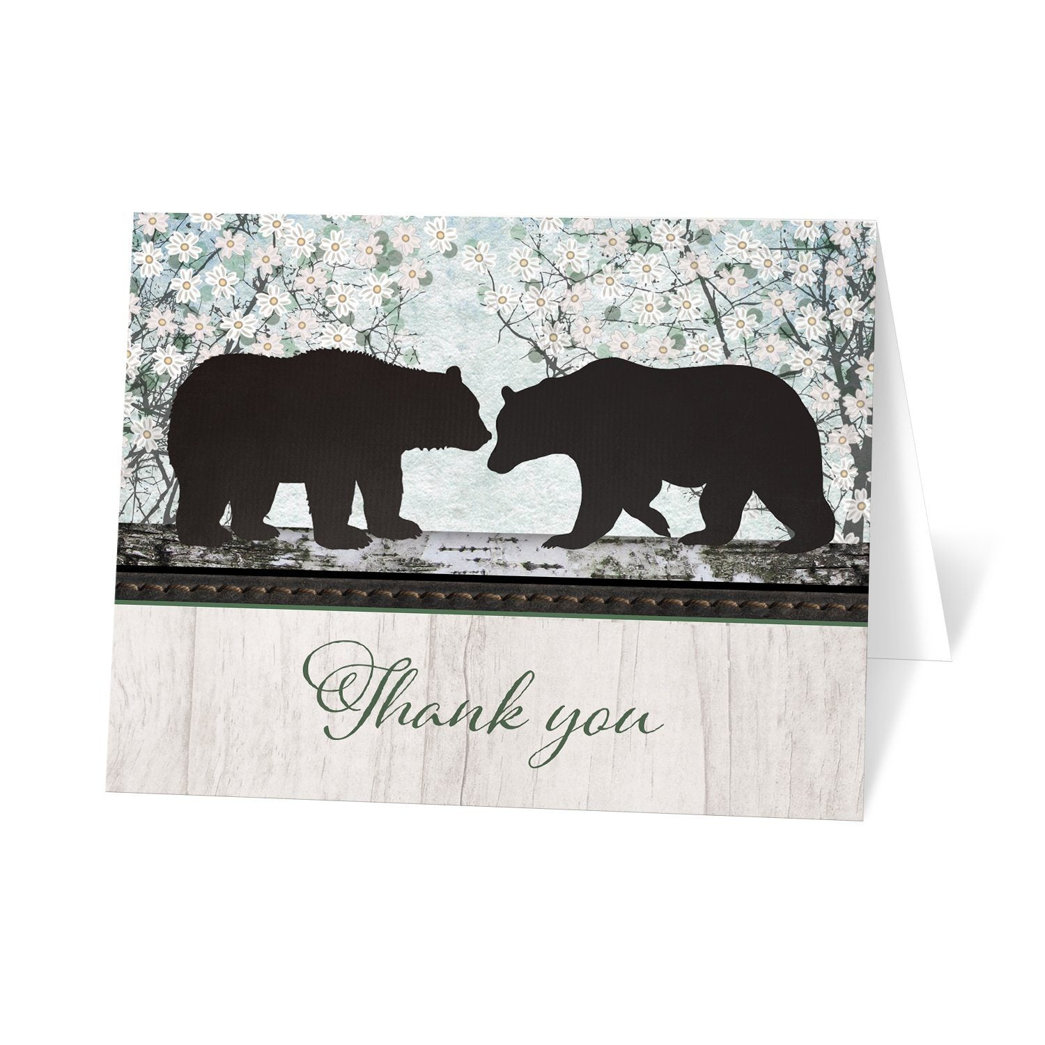 Rustic Bear Spring Floral - Bear Thank You Cards at Artistically Invited