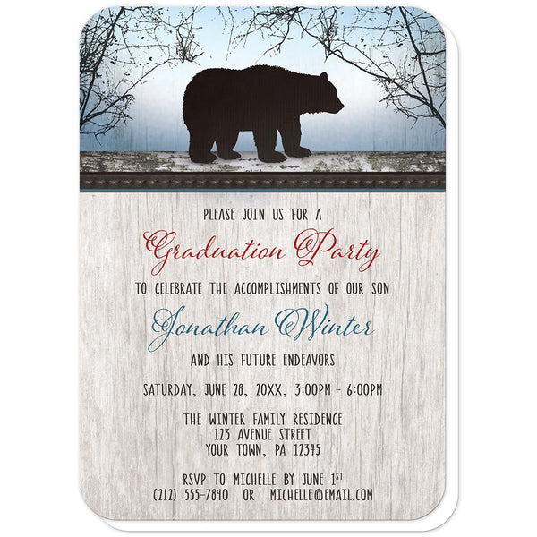 Rustic Bear Wood Red Blue - Bear Graduation Party Invitations (rounded corners) at Artistically Invited