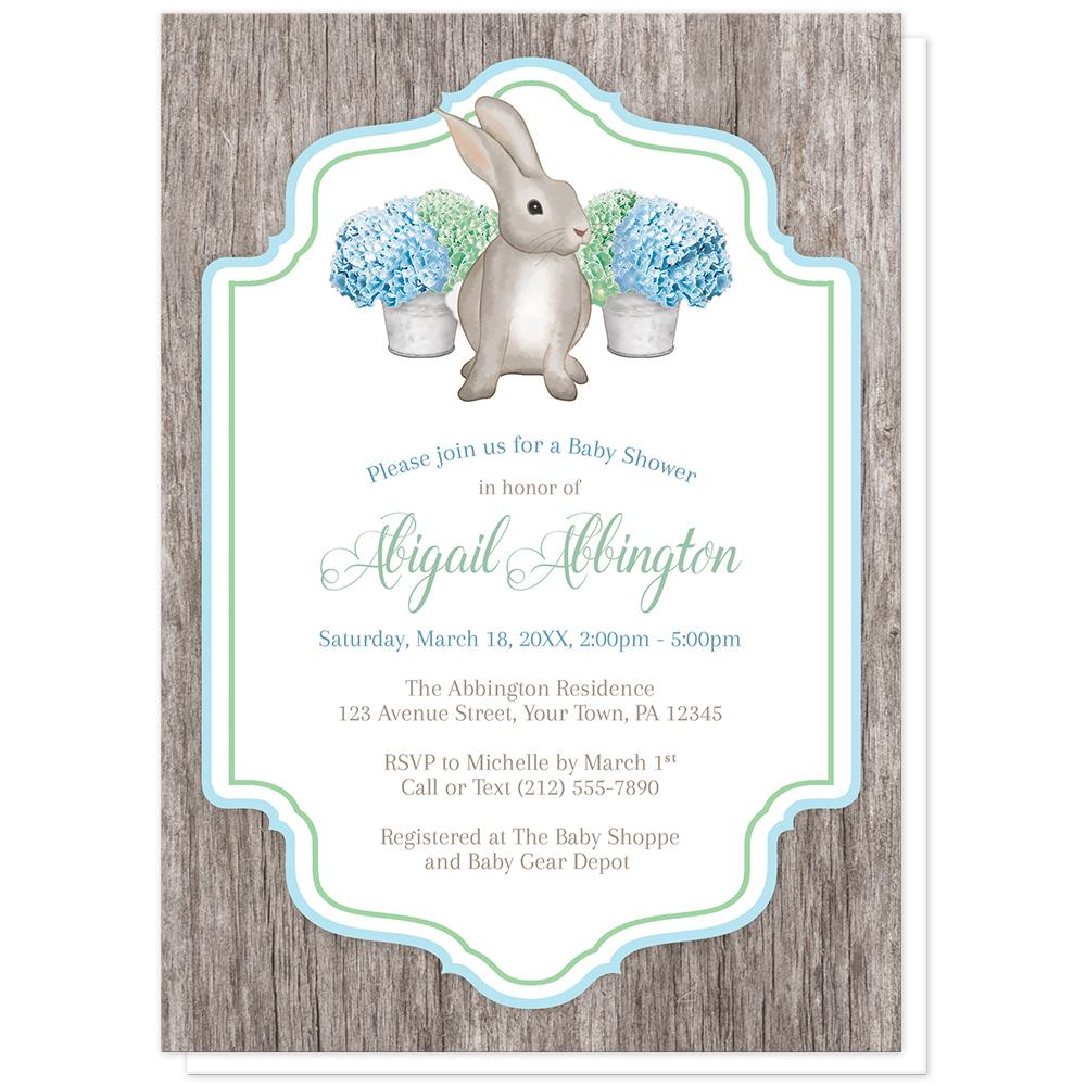 Rustic Blue Green Hydrangea Rabbit Baby Shower Invitations at Artistically Invited