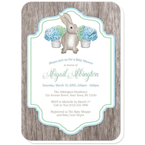 Rustic Blue Green Hydrangea Rabbit Baby Shower Invitations (rounded corners) at Artistically Invited