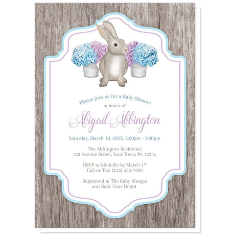 Rustic Purple Blue Hydrangea Rabbit Baby Shower Invitations at Artistically Invited