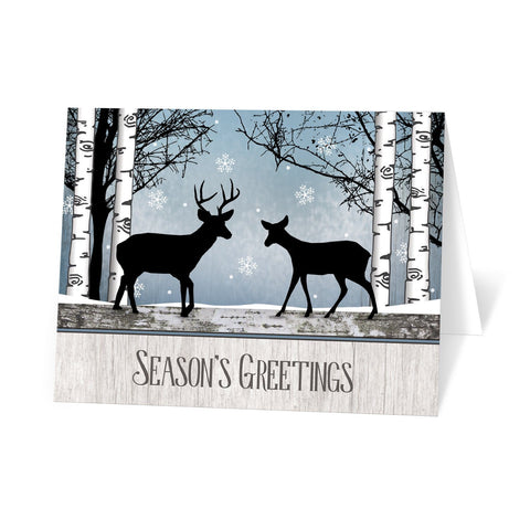 Rustic Blue Winter Deer Season's Greetings Christmas Cards at Artistically Invited