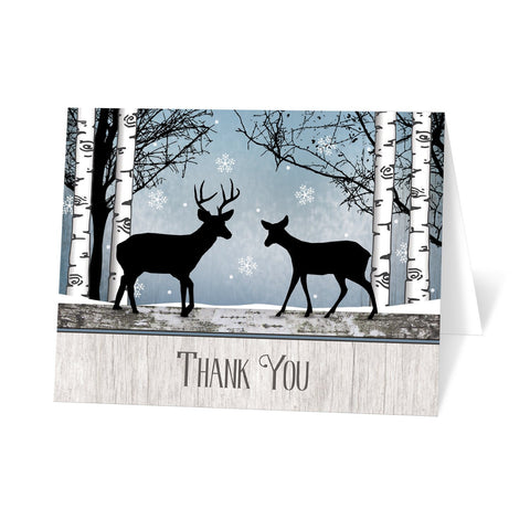 Rustic Blue Winter Deer Thank You Cards at Artistically Invited