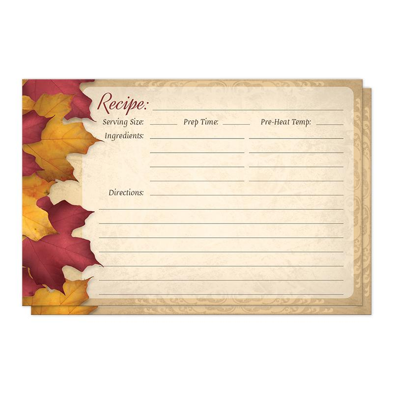 Rustic Burgundy Gold Autumn Recipe Cards at Artistically Invited